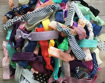 GRAB BAG - 10 pack FOE Hair Ties, Handmade Hair ties, No Crease Hair Ties, Ponytail Holder, Elastic Hair Ties, Hair Ties, Knotted Hair Ties