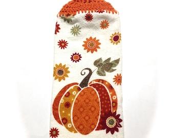Herbst Kürbis Handtuch mit Karotte Orange Gehäkelt Top