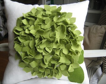 As Seen on GOOD MORNING AMERICA- Hydrangea Pillow in Pea Green and Off White Linen