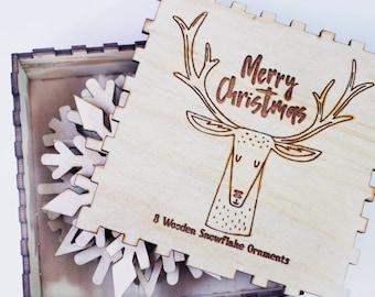 Wooden Snowflake Ornaments - Christmas Decorations - Tree Ornaments - Wooden Christmas Gift - Christmas Ornament - Wooden Snowflake Set