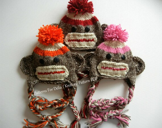 Sock monkey hat knitting pattern easy beginner newborn infant dt1010fo