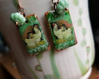Chicken Earrings with very vintage bead