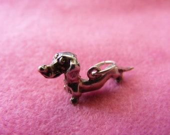 I) Vintage Sterling Silver Charm Dachshund dog