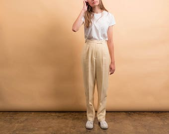 Houndstooth Wool Pants / 80s High-Waist Pants / Minimalist Trousers / Tailored Pants Δ size: S