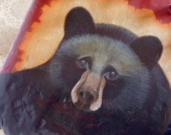 Rustic Hand Painted Wood Chair with Original Black Bear drawing, hand painted chair, Adirondack chair, cabin decor, adirondack decor