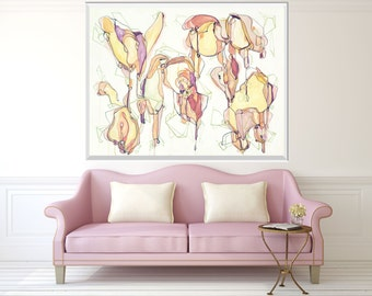 Large Abstract Painting, ORIGINAL Painting, Abstract Art, Acrylic Ink Painting, Pink Flesh White Purple Lavendar Painting, Line Painting