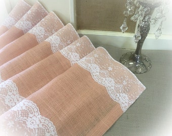 "Peach Blush Burlap & Lace Table Runner  12"", 14"", or 15"" wide with White or Ivory Lace - Wedding runner Home decorating"