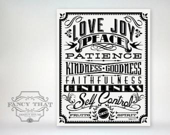 8x10 art print - Fruit of the Spirit - Black and White Typography Poster Print - Galatians Scripture Bible Verse