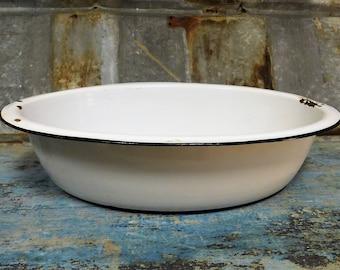 Wash Bowl Vintage Oval Large Porcelain Bowl Mixing Bowl Wash Bowl Home Decor Kitchenware Photography Prop