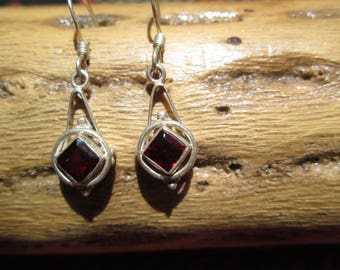 Garnet and Sterling Dangle Earrings
