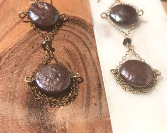 Long Brown freah water pearl disc earrings with layers of goldfilled chain cascading below