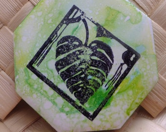 Ceramic Tile Magnet.  With hand stamped painted ,  Monstera Leaf