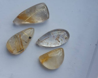 Nice lot of 4 Rutilated Quartz cabachons. medium sized  assorted Cabachons. Quartz  Jewelry making supplies. Gift