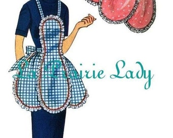 Repro Vintage Full and Half Apron Pattern No 24  50s Repro on PDF Available in Size M - L - X-L