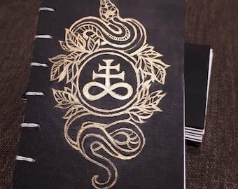 Serpent Leviathan cross - Handmade Coptic Stitch Journal - A6