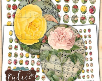 Bella Roses, Digital Collage Page, Oval Images, 30x40mm, 22x30mm, 18x25mm, 13x18mm, Printable Ephemera, Oval Collage Sheet, Cabochon Images