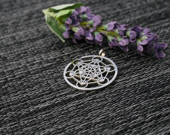 Metatrons Cube Necklace, Metatrons Cube Pendant, Silver Plated Steel Sacred Geometry Pendant, Metatrons Cube Pendant