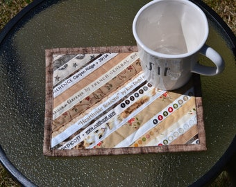 Brown Tan Mug rugs, upcycled selvage, Mini placemats, eco friendly, gift under 20