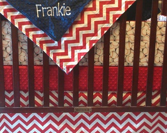 Baseball Baby Boy Crib Bedding - Baseball and Red Chevron Bedding Ensemble