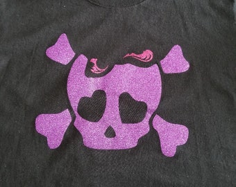 Purple Glitter Skull and Cross Bones