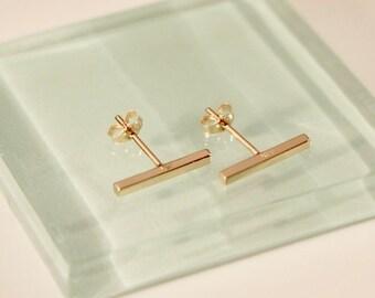 18k yellow gold bar earrings,18k/14k bar earrings,18k gold bar earrings,14k bar stud earrings,18k/10k bar stud, 18k square bar earrings,