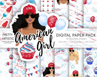 4th of July, Digital Paper Pack, Independence Day Paper, Watercolor Clipart, American USA Patriotic Scrapbook Paper, July 4th, American Flag