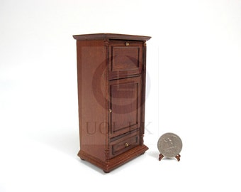 1:12 Scale Miniature Wine Spirits Storage Bar Cabinet  For Doll House[Finished In Walnut]