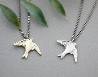 Peace Dove Bird Pendant Necklace, Bridesmaid necklace, Swallow necklace, silver swallow necklace, dove necklace, bird necklace,