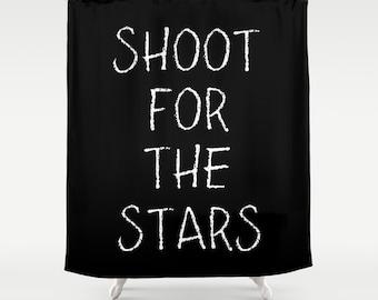 Kids Bathroom Decor, Inspirational Shower Curtain, Shoot For The Stars, Kids Shower Curtain, Black Shower Curtain