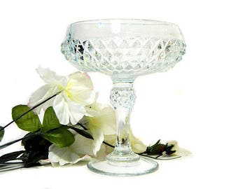 Indiana Glass Diamond Point Pedestal Compote