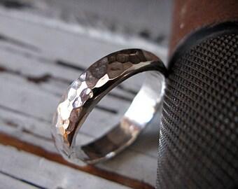 Hammered Silver Ring Mens Wedding Band Mens Wedding Ring Domed 5mm Mens Rustic Wedding Band Hammered Silver Ring Unique Mens Wedding Bands