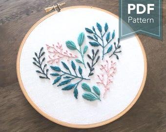 Floral Leaf Heart - Modern Embroidery Pattern (PDF Digital Download)