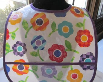 WATERPROOF BIB Wipeable Plastic Coated Baby to Toddler Bib Flowers Floral Primary Colors