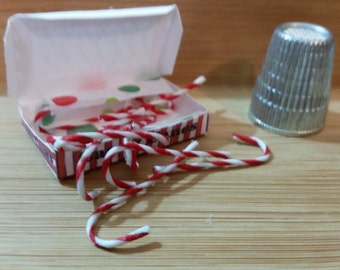 C-2    Miniature Candy Canes in box   for Barbie or dollhouse collectors
