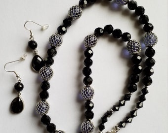 Black Jet and Mesh Wrapped Bead Necklace.  Drop Earrings.