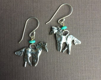 Sterling Silver Ponies/Turquoise beads/ Sterling wires