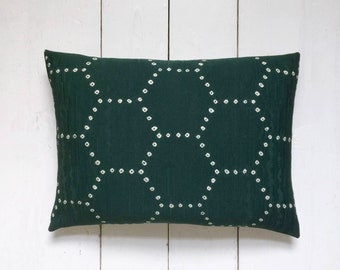 "Green Geometric Vintage Kimono Silk Fabric Lumbar Pillow Cushion 'Shibori Hexagons' (12"" x 16"")"