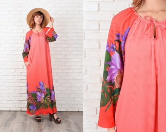 Vintage 70s Pink Maxi Dress Fortuny Pleated Leaf Floral Boho Hippie Bell Slv L 11380
