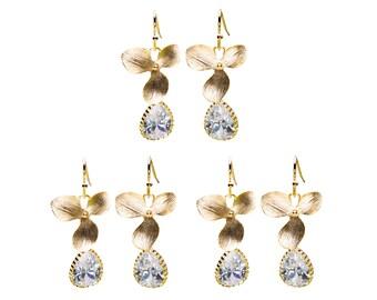 CZ Flower Earrings, Orchid Earrings, Wedding Jewelry, Bridesmaid Jewelry, Drop Earrings, Dangle Earrings, Mother's Day