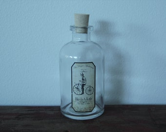 Steampunk Bike-in-a-Bottle Magic Apothecary Bottle - To ride a bike