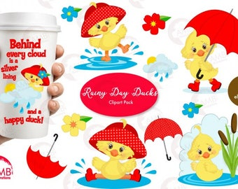 Duck Clipart, Umbrella Clipart, Spring Clipart, April Showers Clipart, Rainy Day clipart, Cute duck clipart, Commercial Use  AMB-1823