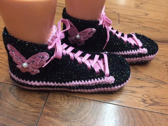 crocheted 8 shoes black 409 sneaker slippers crochet Crocheted tennis slippers List pink sneakers 10 butterfly Womens tennis slippers shoes 0qAAZCwx