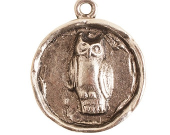 Small Round Owl Pendant - Antique Silver (plated)