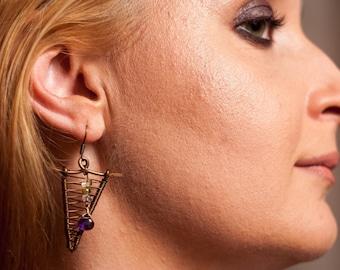 Wire wrap earrings, statement earrings, earrings, dangle earrings, vintage style, vintage earrings, wire wrapped jewelry, copper earrings