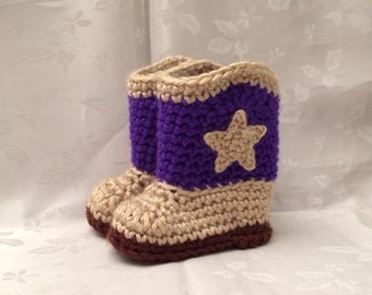 Cowboy Booties Baby Cowboy Boots Purple and Tan Crochet , Made to Order,  Cowgirl Booties, Cowgirl Boots, Infant Girl Boots