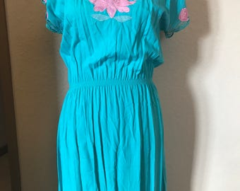 Women's medium to large aqua side slit dress with pink embroidered flowers