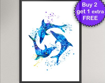 DOLPHIN Watercolor Art Print Sea Life Ink Painting Underwater illustrations Art Print Wall Art Poster Giclée Wall Decor Art Home (Nº1)