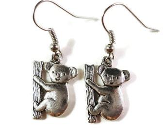 Koala Bear Earrings, Silver Koala Charm Earrings, Dangle Earrings, Metal Earrings, Animal Jewelry, Holiday Gifts under 5 Dollars, Gift Idea