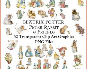 32 Peter Rabbit and Friends Clip Art Transparent PNG Files Instant Download, Beatrix Potter Transparent Art Images Digital collage sheet