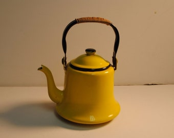 Vintage Enamelware Enameled Yellow Black Tea Coffee Pot - Japan Enamel
